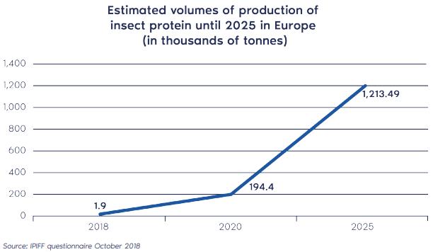 Geschatte productie insecten-proteïne in 2025 op basis van IPIFF questionnaire
